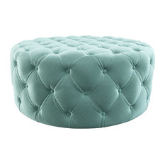 1st Avenue - Perris Round Velvet Tufted Ottoman, Seafoam Green - Footstools and Ottomans