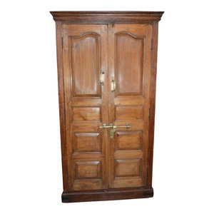 Mogul Interior - Consigned Antique Mogul Cabinet Rustic Teak Wood Armoire With Ample Storage - Armoires And Wardrobes