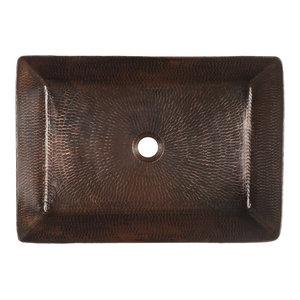 """20"""" Rectangle Vessel Hammered Copper Sink"""