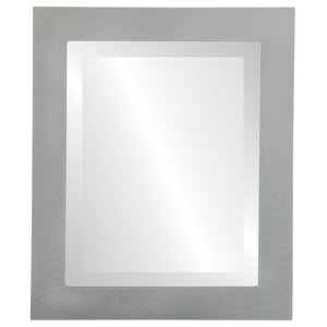 "Soho Framed Rectangle Mirror in Bright Silver, 19""x23"""