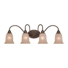 Craftmade Linden Lane 4-Light Vanity, Old Bronze, Light Tea Stained Glass
