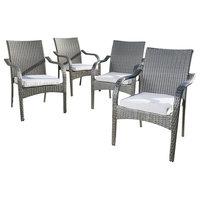 San Miguel Gray Wicker Stackable Patio Armchairs, Set of 4