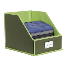 Collapsible Clothing Storage Bins With Easy Access, Flip-Down Front Panel, Olive