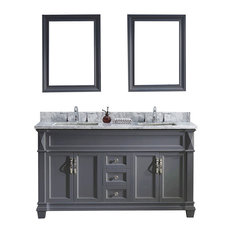 "Virtu Victoria 60"" Double Bathroom Vanity, Gray With Marble Top, With Mirrors"