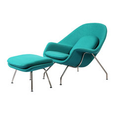 Cashmere Womb Chair and Ottoman 2-Piece Set, Turquoise