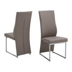 Remo Dining Chairs, Taupe Faux Leather, Set of 2