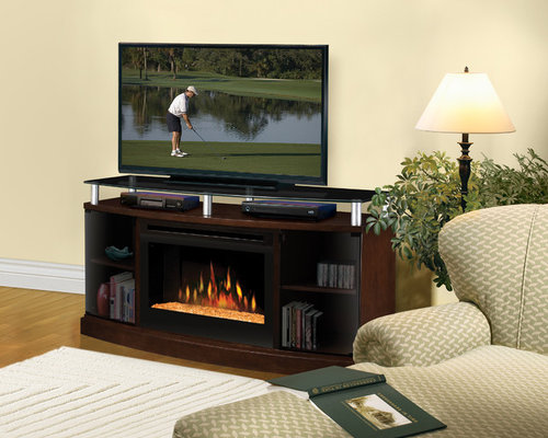Dimplex   Windham Mocha Electric Fireplace Media Console With Glass Embers   DFP25 MA1015G