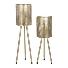 Cylindrical Mesh Metal Candle Holders on Tripod Bases, Set of 2