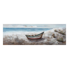 """Boat at the Lake"" Hand Painted Canvas Art, 60""x20"""