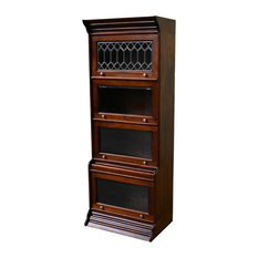 "Legacy Solid Mahogany 4 Stack 24"" Wide Barrister Bookcase, Brown Walnut"