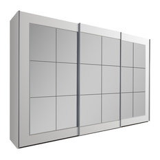 Bilbao Mirrored Wardrobe, White, Large