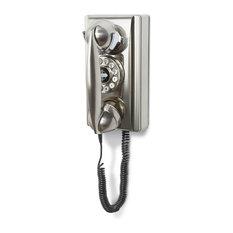 MOD - Dreyfuss Retro Wall Phone, Brushed Chrome - Home Electronics