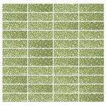 "Susan Jablon Mosaics - 12""x12"" Light Lime Green Glitter Glass Subway Tile Stacked, Full Sheet - This light lime glittering 1x3 inch glass subway tile is a luscious green tone with light lime glitter."