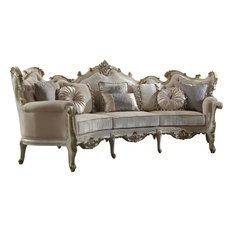 Picardy Sofa With 8 Pillows, Fabric, Antique Pearl