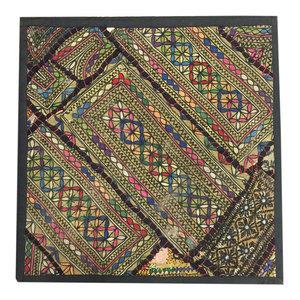 """Mogul Interior - Indian Patchwork Yellow Pillow Sham Banjara Sequin Work 18""""x18"""" - Decorative Pillows"""