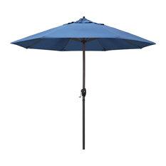9' Bronze Auto-tilt Crank Aluminum Umbrella, Frost Blue Olefin