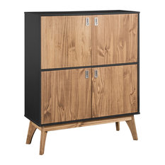 Manhattan Comfort Dresser Cabinet In Dark Grey and Natural Wood CS96009