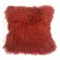 """Pillow Decor, Mongolian Sheepskin Throw Pillow, Red, 18""""x18"""""""