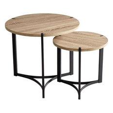 Cyan Lighting Tri - 19-inch Nesting Table (Set Of 2) Oak Veneer/Black Finish