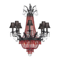 Chandelier With Red Crystal and Black Shades