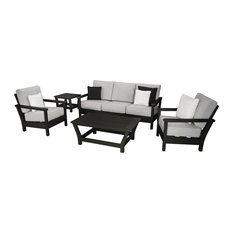 Harbour 5-Piece Outdoor Lounge Set, Black / Granite