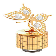 24K Gold Plated Music Box With Crystal Studded Butterfly Figurine