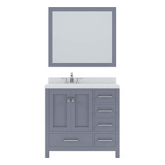 36-inch Single Vanity Gray Quartz Top Round Sink Brushed Nickel Faucet Mirror