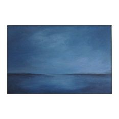 Large Abstract Painting on Canvas Modern Acrylic Skyline- 24x36 - Gray&Blues