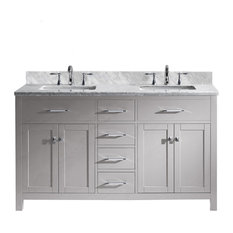 Caroline 60-inchDouble Bath Vanity Cashmere Gray Top Sink Brushed Nickel Faucet