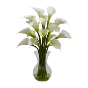 Artificial Flowers, Cream Galla Calla Lily With Vase Silk Flowers