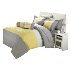 Chic Home - Serenity Yellow And Gray Queen 10-Piece Comforter Bed In A Bag Set - Bedding