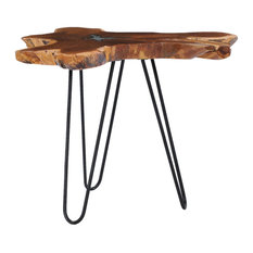 vidaXL Coffee Table Rustic Unique Root Shape Solid Teak Wood and Polyresin