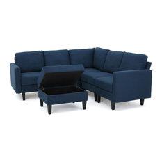 GDF Studio Carolina Fabric Sectional Couch With Storage Ottoman, Dark Blue