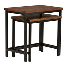 Simpli Home Skyler 2 Piece Nesting Table Set in Dark Cognac Brown