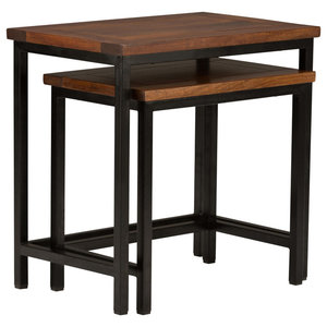 Skyler Solid Mango Wood Nesting Tables With Metal Legs, 2-Piece Set