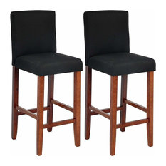 Set of 2 Bar Stools Upholstered, Linen Fabric With Wooden Legs, Black and Brown