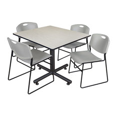 Kobe 48-inch Square Breakroom Table Maple And 4 Zeng Stack Chairs Gray