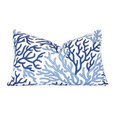 """Coral Cotton Pillow Cover, Lumbar, Indigo Blue, 12""""x20"""""""