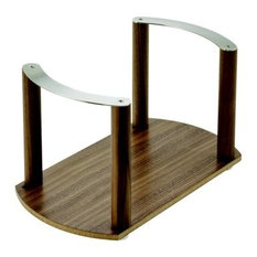 Fineline Plate Holder, Walnut, With Stainless Steel Handle