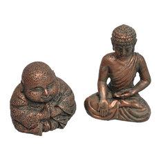 Grasslands Road - Mindful Buddhas, 2 Piece Set for Miniature Garden, Fairy Garden - Garden Statues and Yard Art