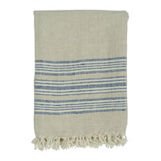 "Classic Stripe Throw, 50""x70"", Indigo"