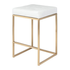 Chi Bar Stool In Gold Finish, White