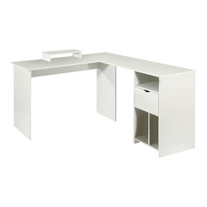 Modern Stylish Corner Desk, Painted MDF and Veneer With Open Shelves, White