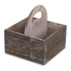 Square Wooden Caddy, Brown, Brown