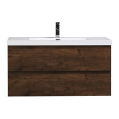 """MOB 42"""" Wall Mounted Vanity With Reinforced Acrylic Sink, Rosewood"""