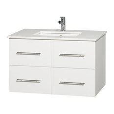 "36"" Single Bathroom Vanity in White, White Man-Made Stone Countertop, Sink"