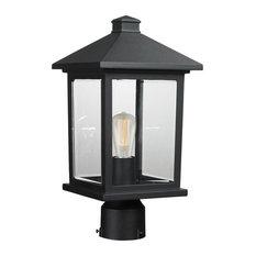 Portland 1-Light Post Mount Light, Black (Round Base)
