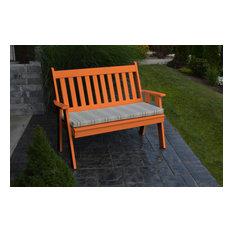 5' Poly Traditional English Garden Bench, Orange
