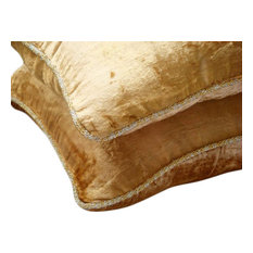 """Gold Solid Color Pillow Cover, Velvet 18""""x18"""" Throw Pillow Covers, Gold Shimmer"""