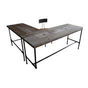 L-Shaped Reclaimed Wood Desk, Natural, Standard
